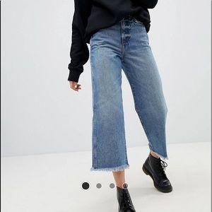 WEEKDAY high rise, wide leg, raw hem jeans